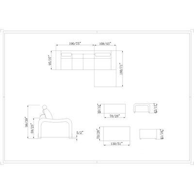 Hokku Designs Marino 2 Piece Living Room Set