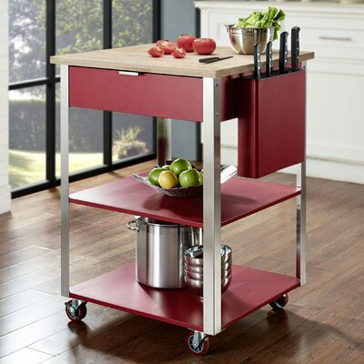 Crosley Kitchen Cart with Butcher Block Top