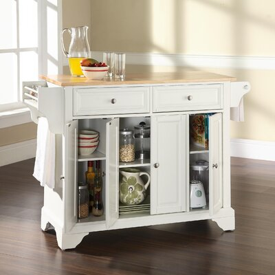 Crosley LaFayette Kitchen Island with Wood Top