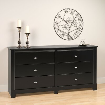 Prepac Kallisto Black 6 Drawer Dresser