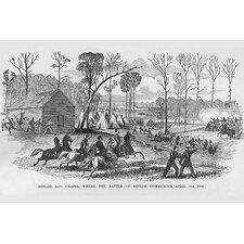 #039;Log Cabin Chapel Where The Battle of Shiloh Began #039; by Frank Leslie Painting Print