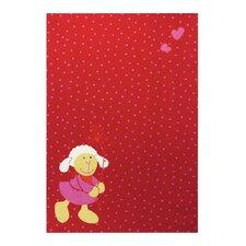 Handgewebter Teppich in Rot