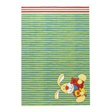Handgewebter Teppich Semmel Bunny in Grün