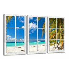 Window Palm Trees View 3 Piece Photographic Print on Canvas Set