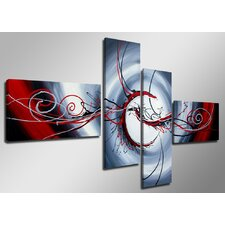 Curl 4 Piece Graphic Art Wrapped on Canvas Set