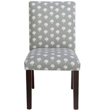 Scriba Parsons Chair in Hand Flora Graystone by Three Posts