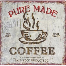 Pure Made Coffee Vintage Advertisement Plaque