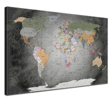 World Map Graphic Art on Canvas
