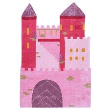 Kinderteppich Schloss in Rosa