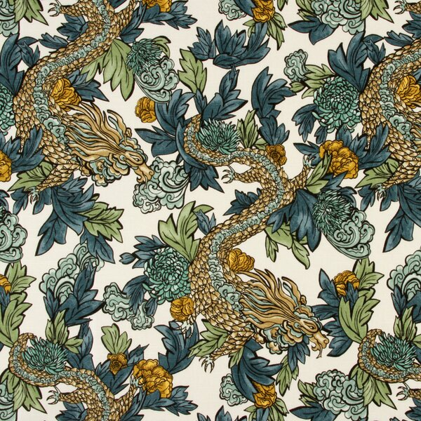 Dwellstudio ming dragon fabric midnight dwellstudio for Dragon fabric kids
