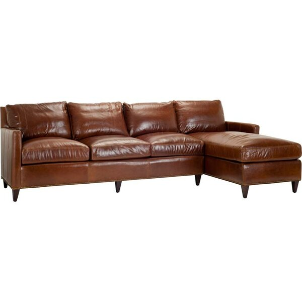 York Leather Right-Facing Sectional Sofa