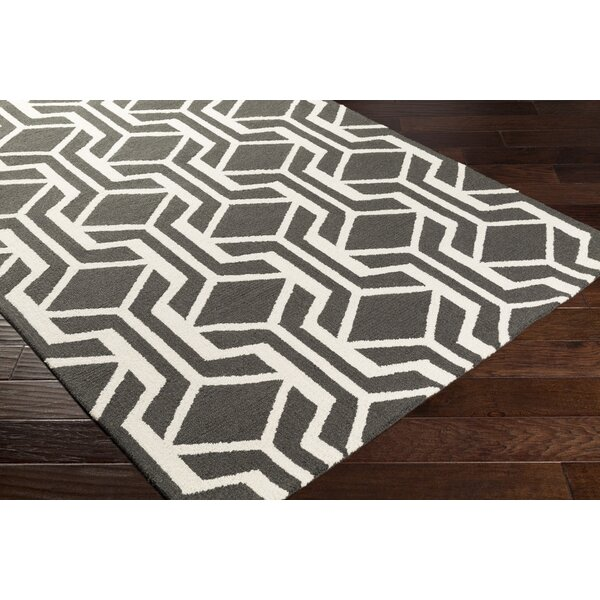 Black And White Geometric Kitchen Rug: Jessie Black & White Geometric Wool Hand-Tufted Area Rug