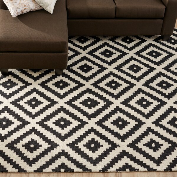 Kelly Black Cream Geometric Wool Hand Tufted Area Rug