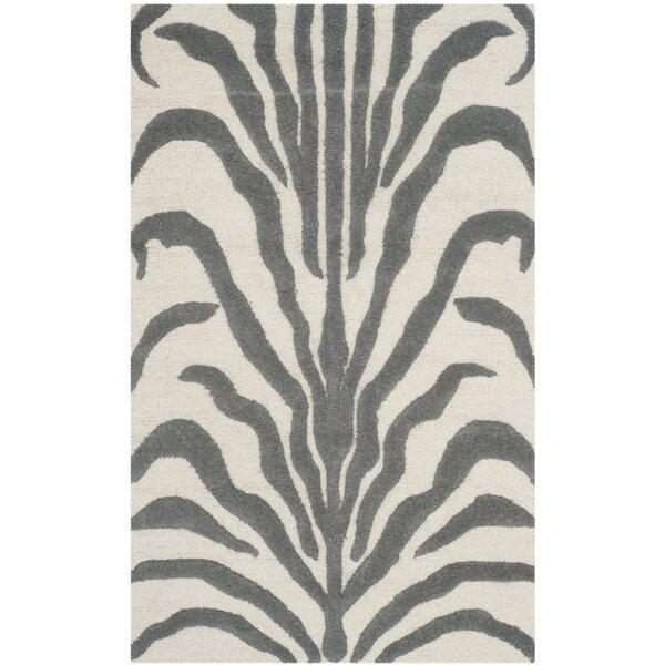 Sandra Gray & Silver Animal Print Wool Hand-Tufted Area