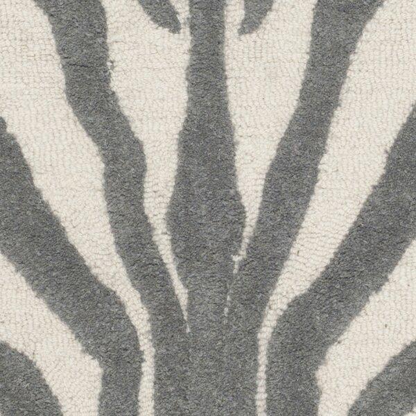 Animal Print Rug Grey: Sandra Gray & Silver Animal Print Wool Hand-Tufted Area