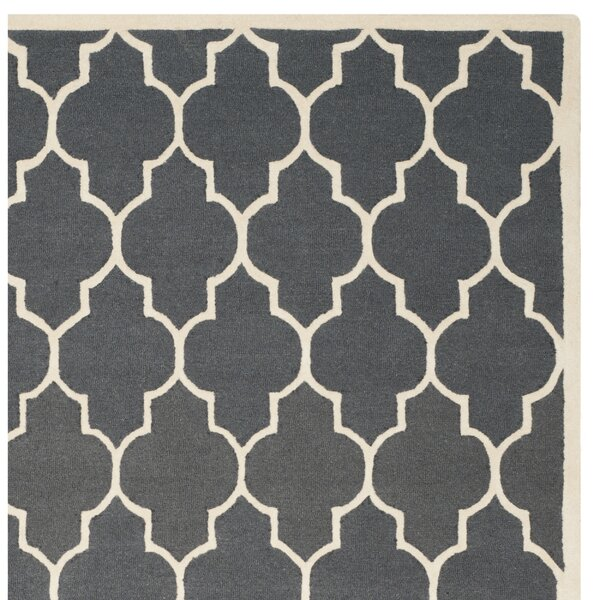 Sandra Ivory Amp Grey Geometric Wool Hand Tufted Area Rug