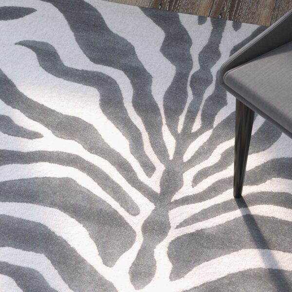 Sandra Gray Amp Silver Animal Print Wool Hand Tufted Area