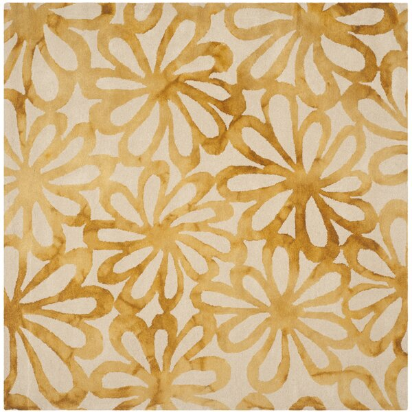 Kendall Beige Amp Gold Floral Wool Hand Tufted Area Rug