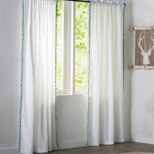 Persephone Pom Pom Rod Pocket Single Curtain Panel