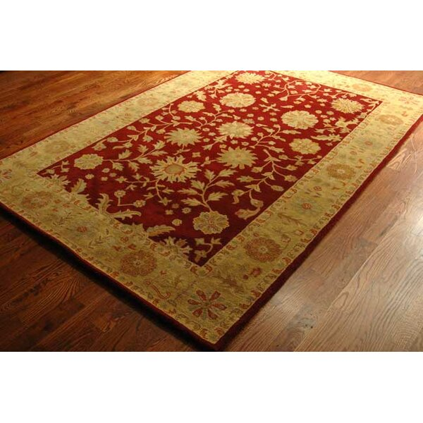 Nessa red gold oriental wool hand tufted area rug for Red and gold area rugs