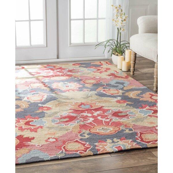 jean red blue floral hand tufted area rug reviews joss main. Black Bedroom Furniture Sets. Home Design Ideas
