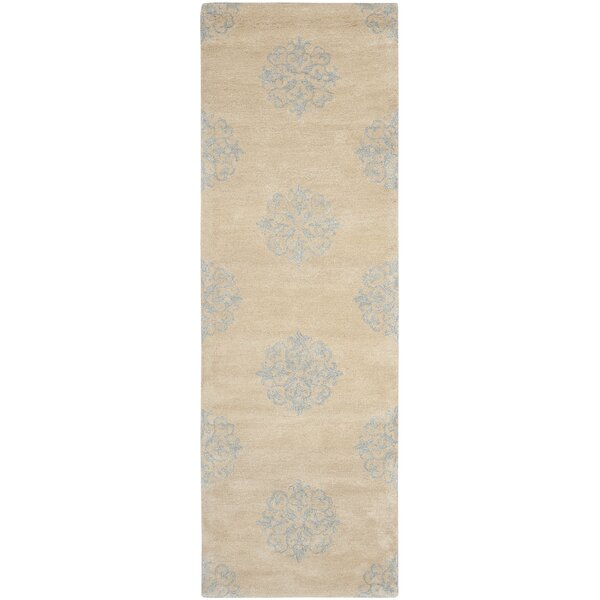 Halle beige floral wool hand tufted area rug reviews for Chaise longue halle