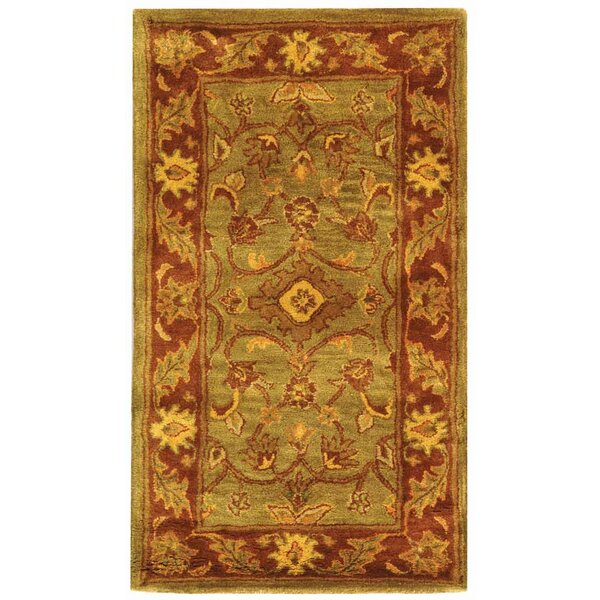 Padma Green Amp Rust Oriental Wool Hand Tufted Area Rug