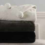 Luxe Faux Fur Pom Pom Throw Blanket and Pillow Set