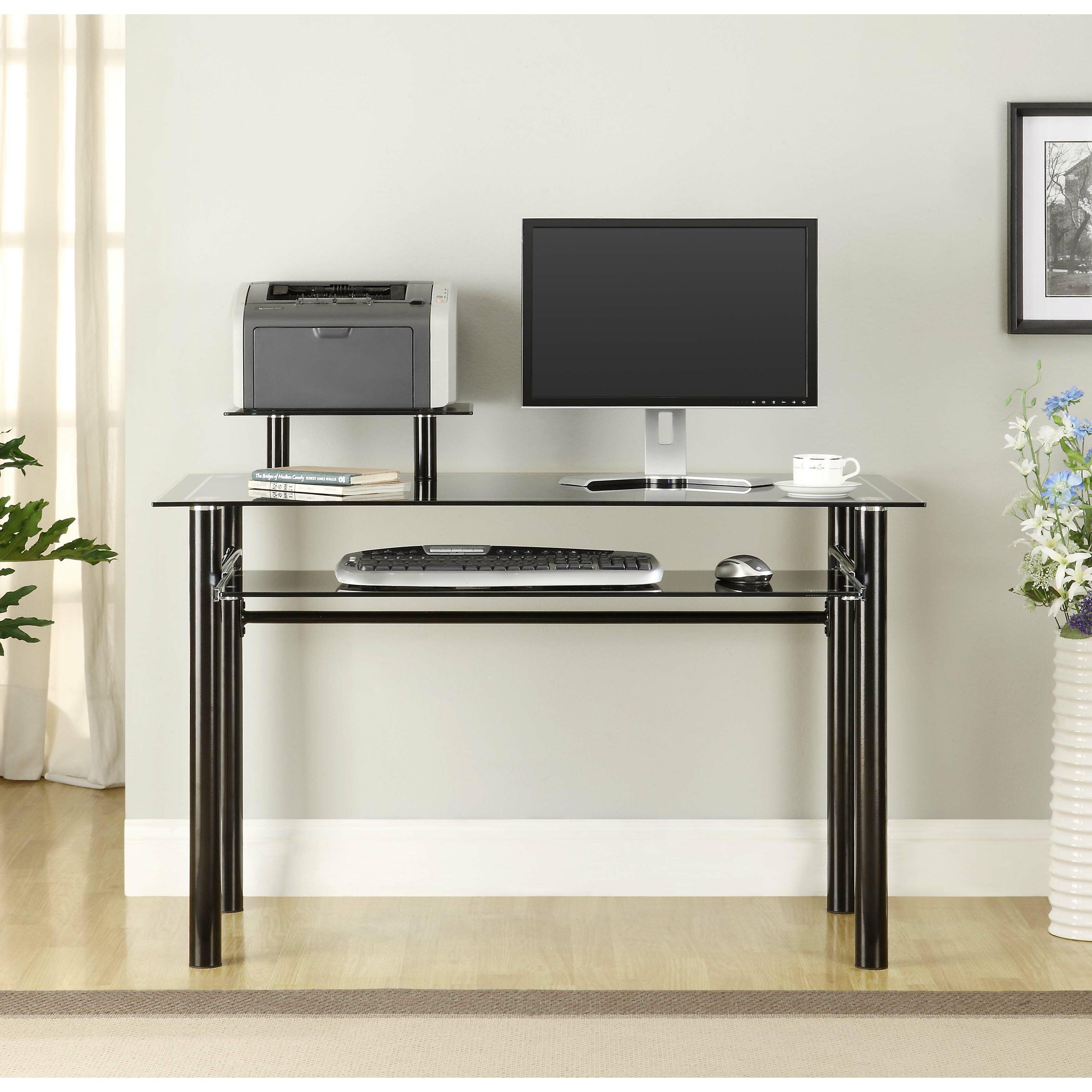 innovex glass computer desk reviews wayfair. Black Bedroom Furniture Sets. Home Design Ideas