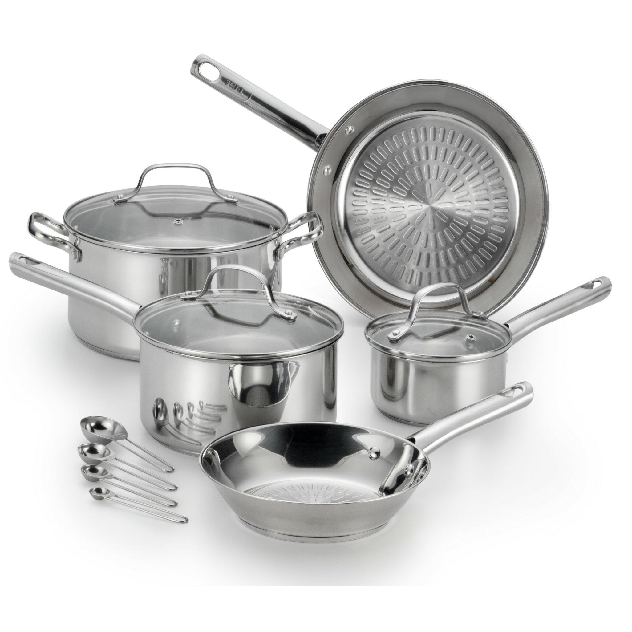 t fal performa stainless steel 12 piece cookware set reviews wayfair. Black Bedroom Furniture Sets. Home Design Ideas