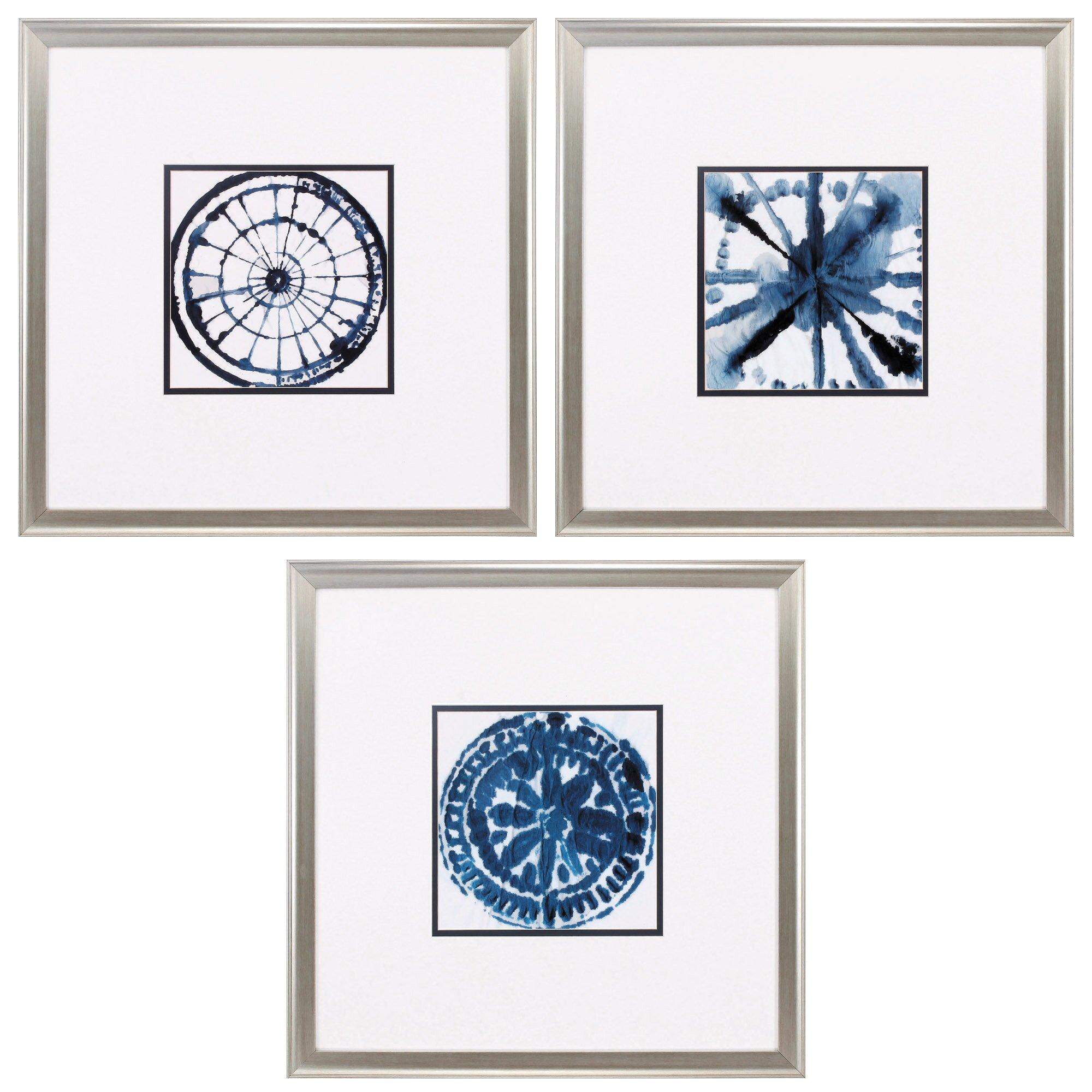 Propac Images Indigo Dye 3 Piece Framed Graphic Art Set