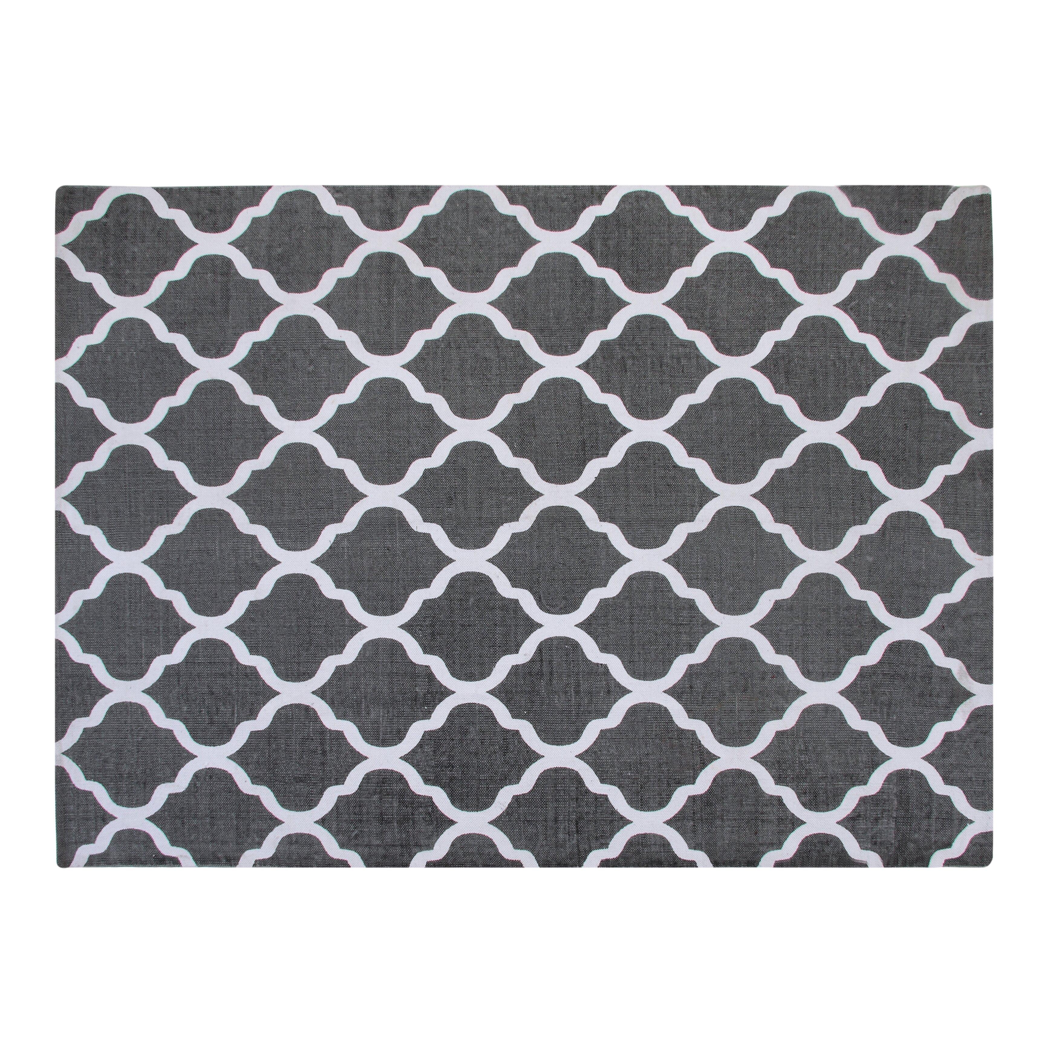 Chesapeake Cotton Printed Grey and White Quatrefoil Geometric Rug u0026 Reviews : Wayfair