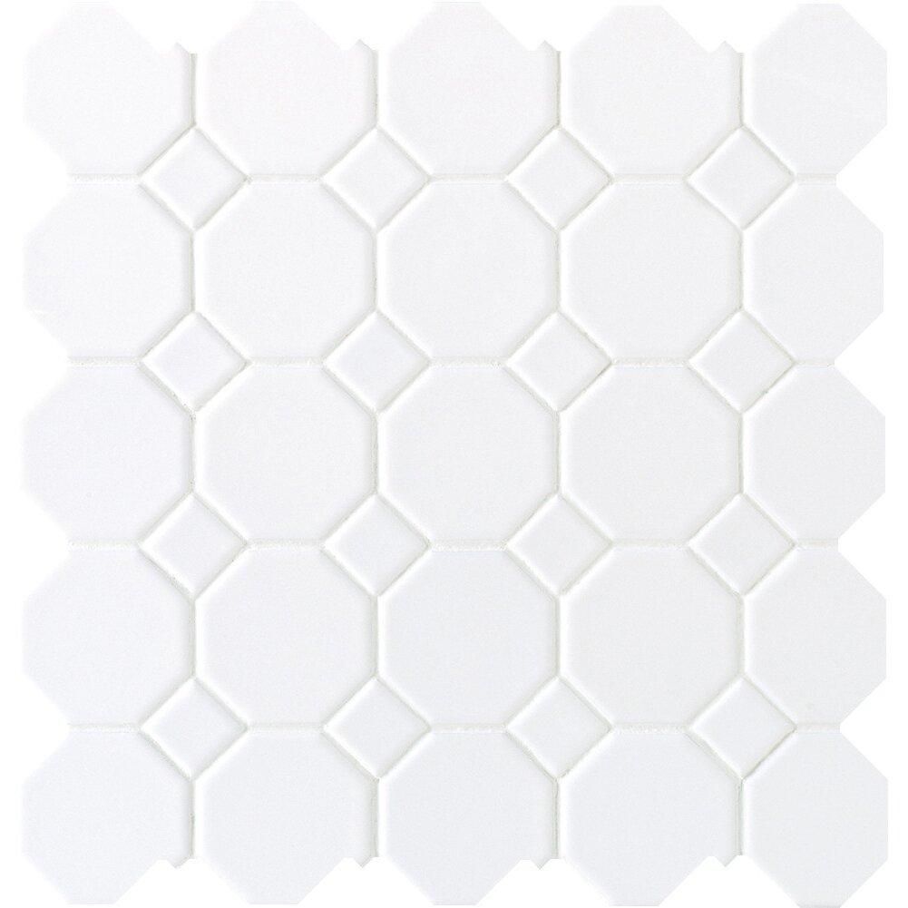 Daltile Octagon And Dot 2 X 2 Ceramic Mosaic Tile In White Reviews Wayfair