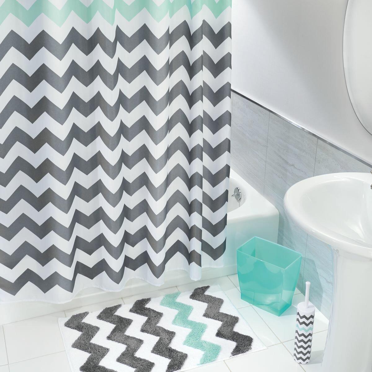 Interdesign Microfiber Bathroom Shower Accent Rug: InterDesign Chevron Microfiber Shower Bath Rug & Reviews