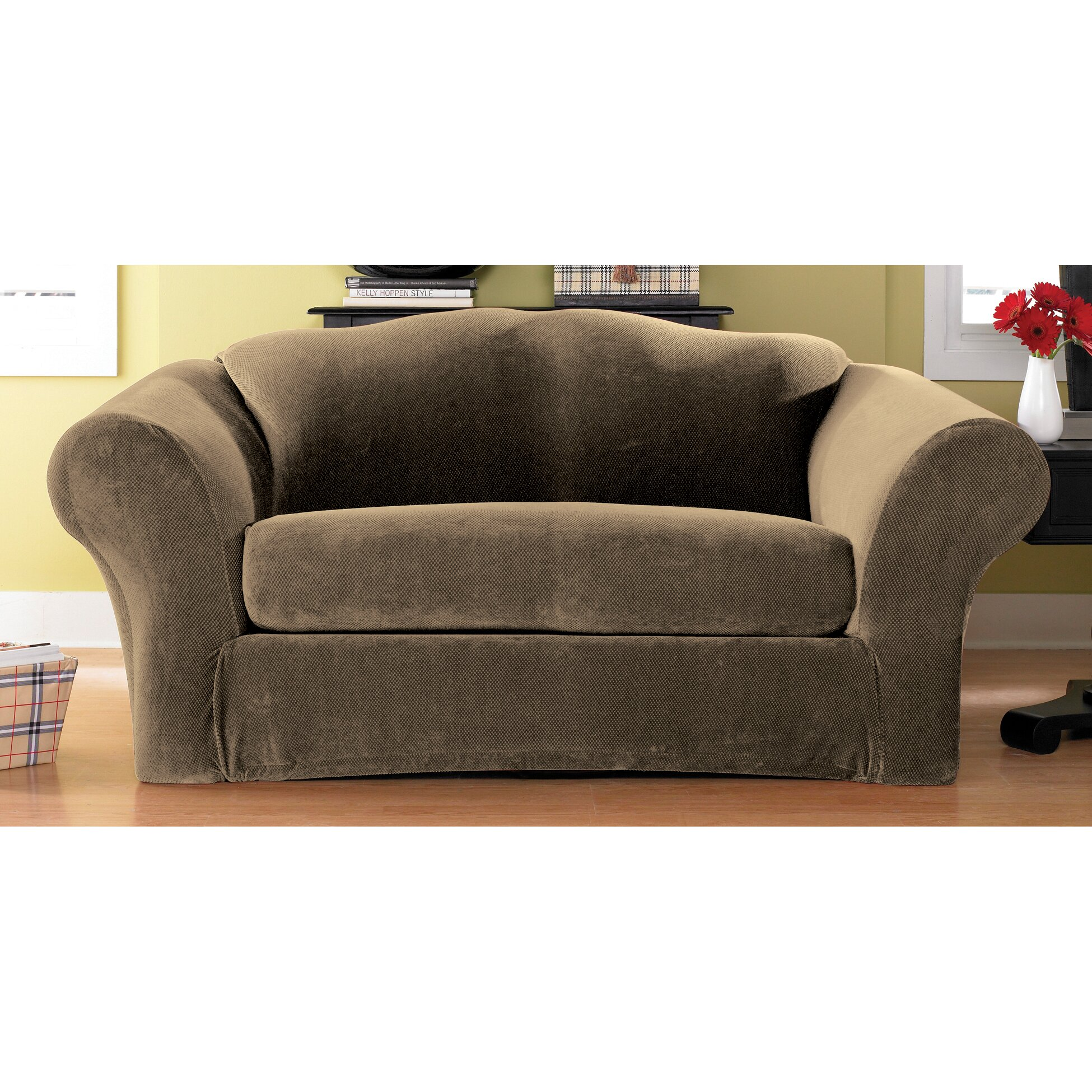 Sure Fit Stretch Pique Separate Seat Loveseat Slipcover Reviews Wayfair: loveseat slipcover