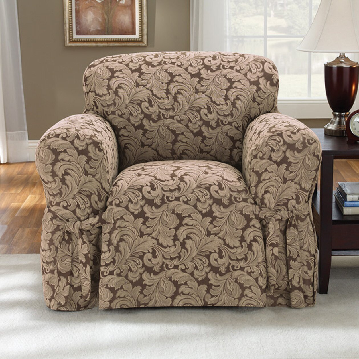 Sure Fit Scroll Classic Armchair Skirted Slipcover ...
