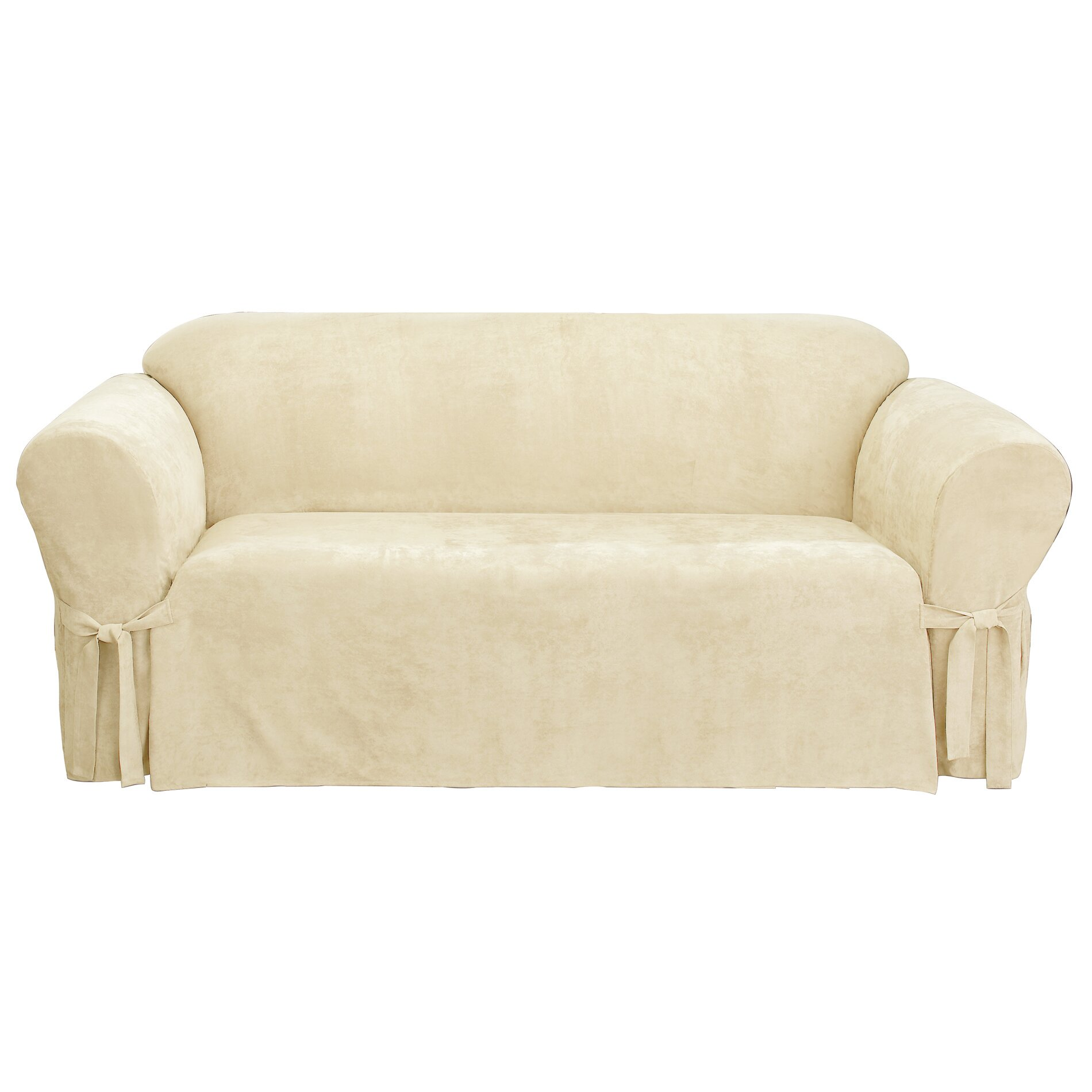 Sure fit soft suede sofa slipcover reviews wayfair for Suede slipcovers