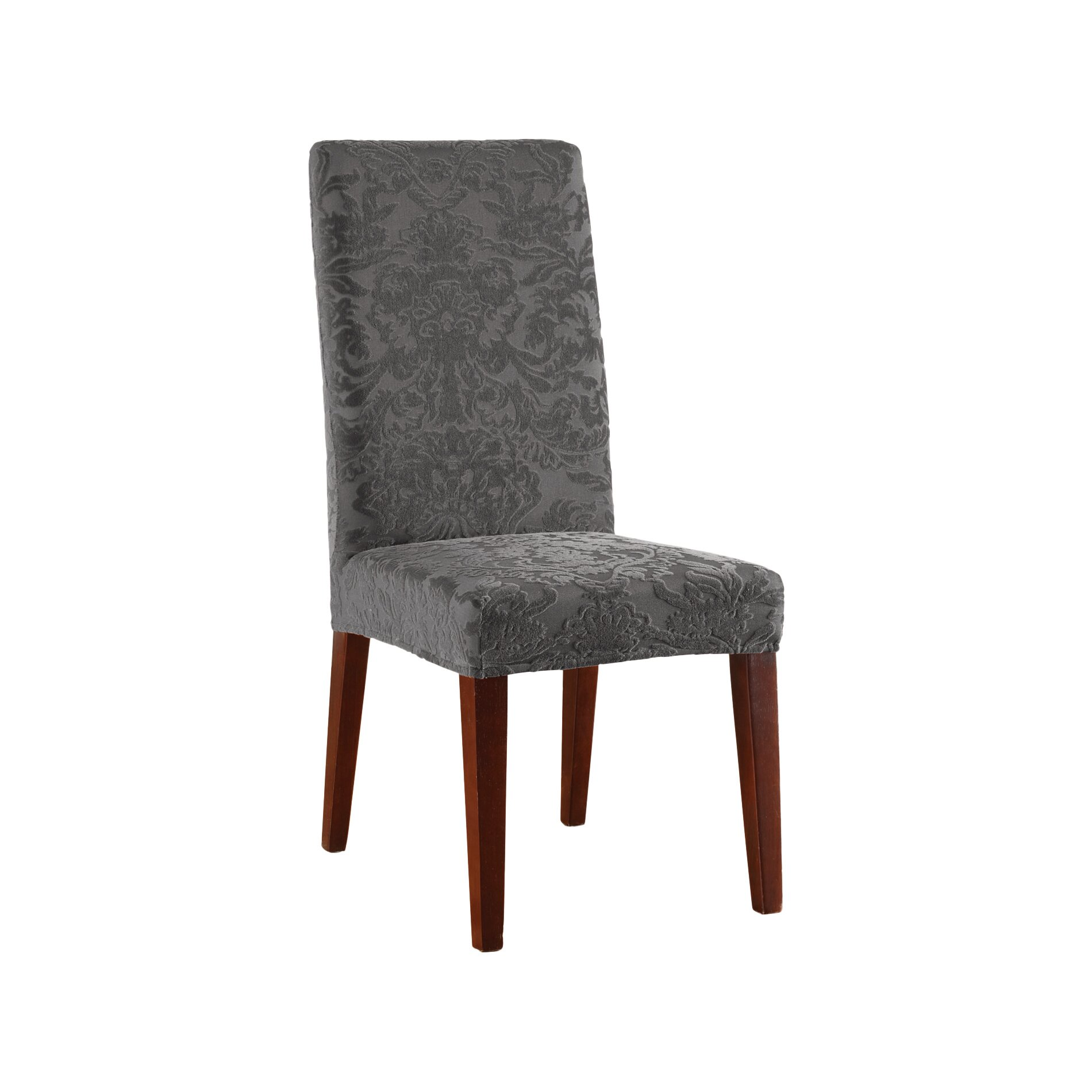 Sure fit stretch jacquard damask dining chair slipcover Slipcovers for chairs
