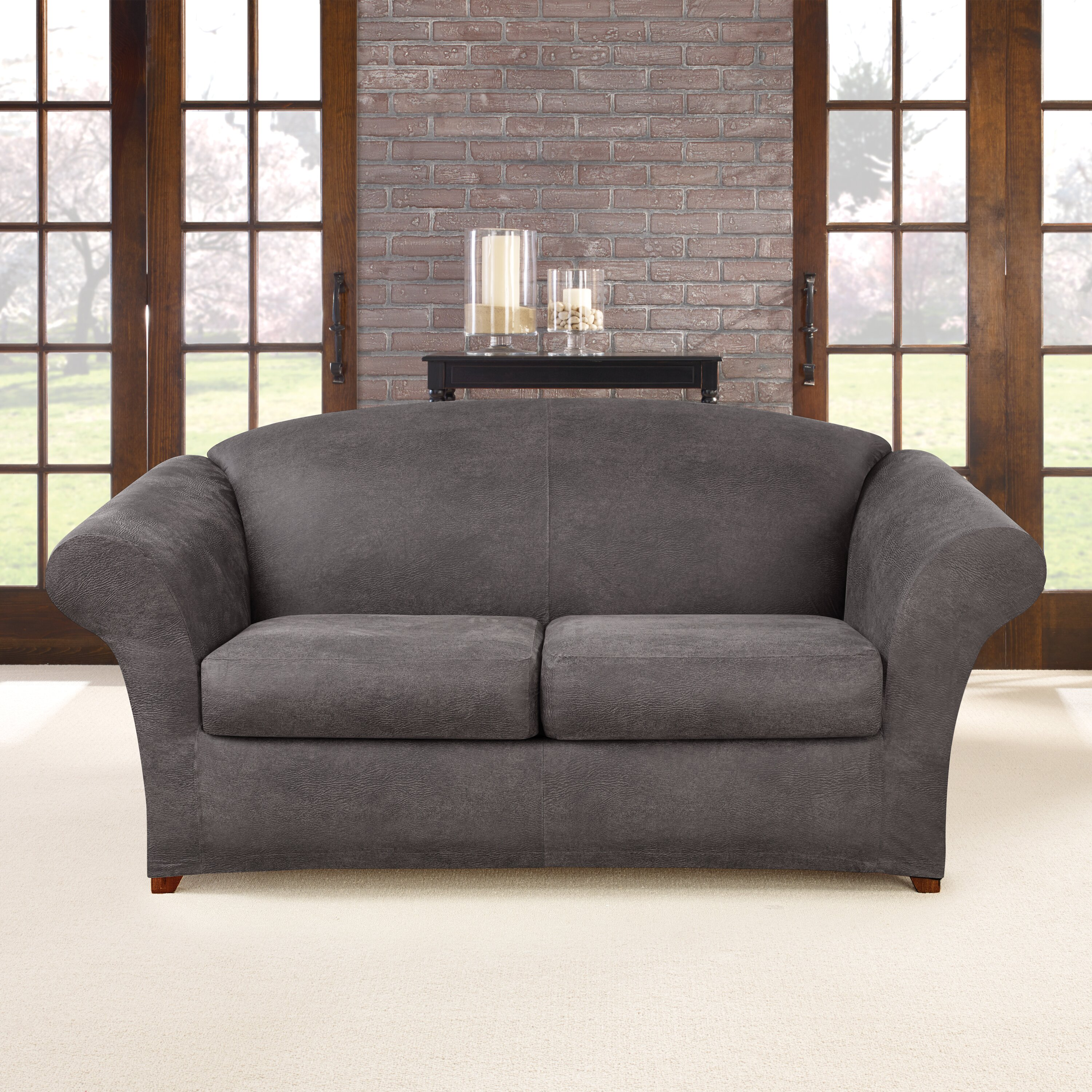 Sofa Slipcover: Sure Fit Ultimate Stretch Faux Leather Sofa Slipcover