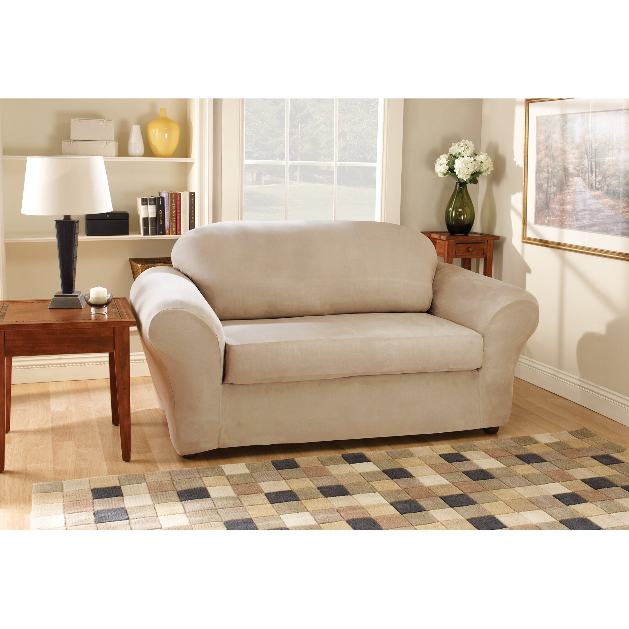 Sure fit stretch suede sofa slipcover Loveseat slipcover