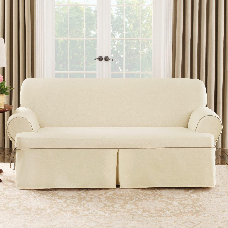 Sure Fit Cotton Duck Sofa T-Cushion Slipcover & Reviews