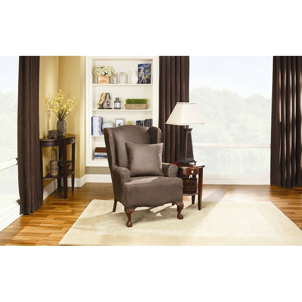 Sure Fit Stretch Leather Wing Chair Slipcover & Reviews | Wayfair
