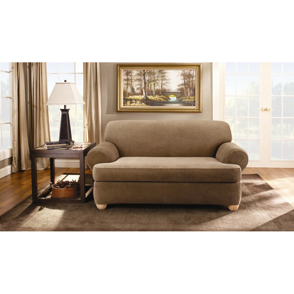 Sure fit stretch stripe loveseat t cushion slipcover reviews wayfair Loveseat stretch slipcovers