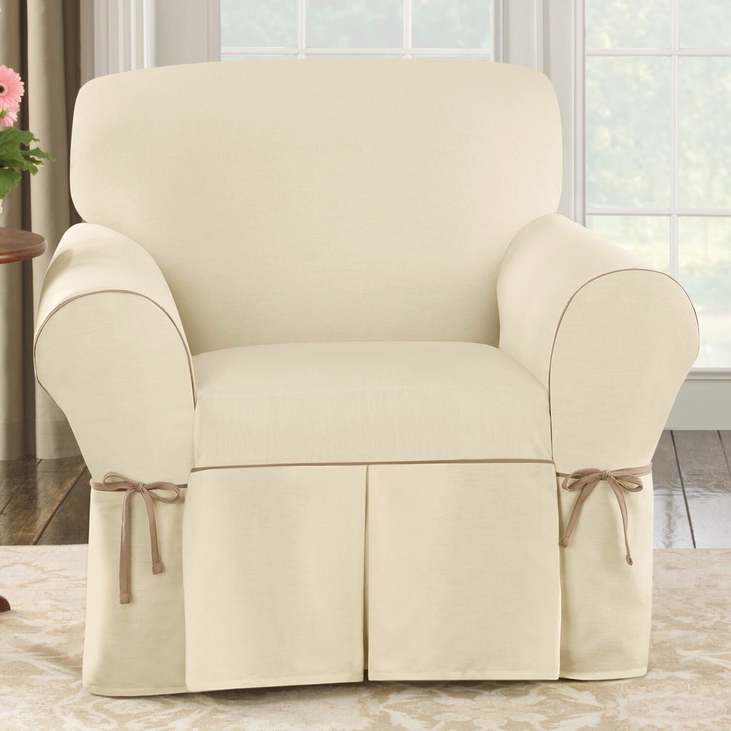 sure fit cotton duck arm chair slipcover reviews wayfair