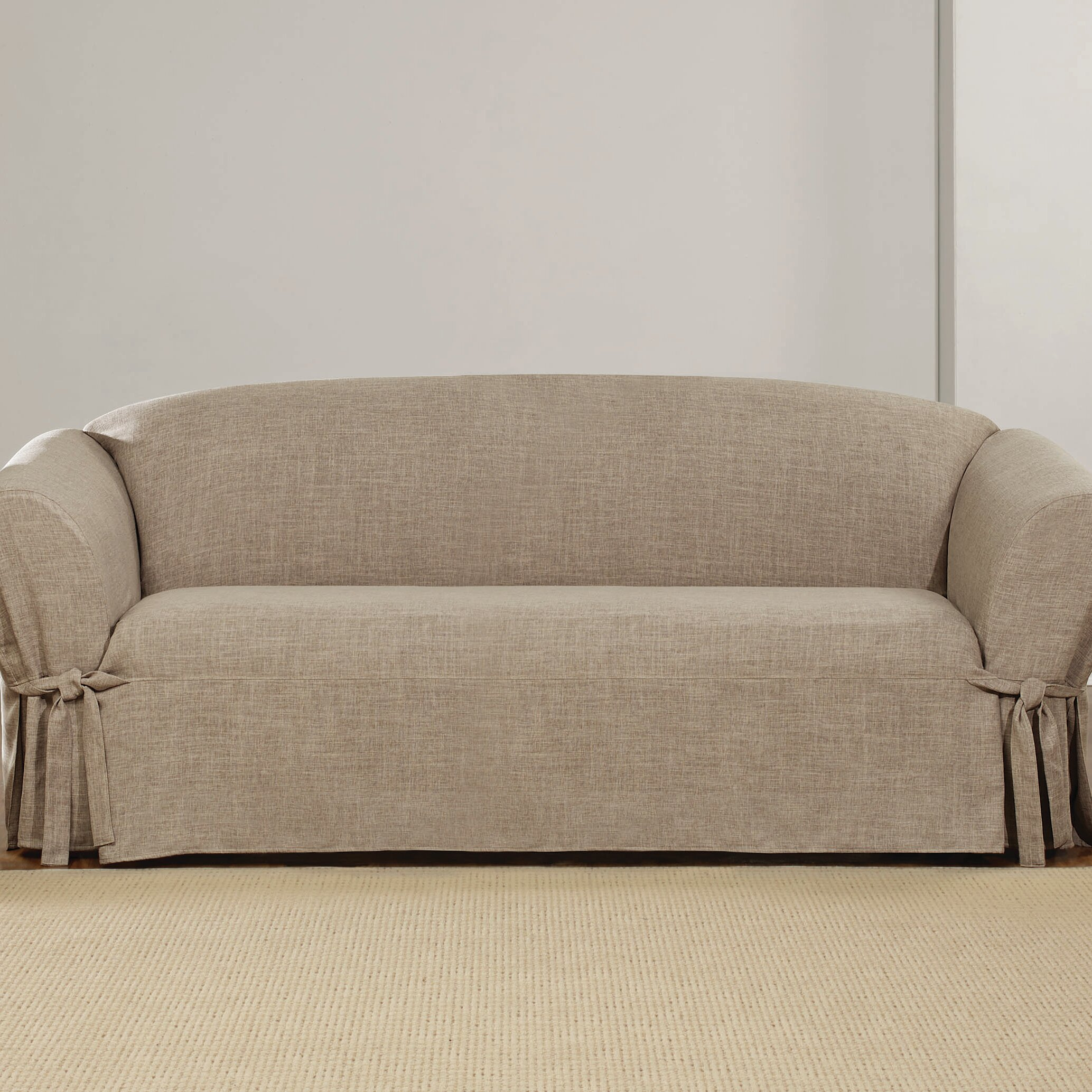 Sure Fit Textured Linen Polyester Sofa Slipcover Wayfair Ca