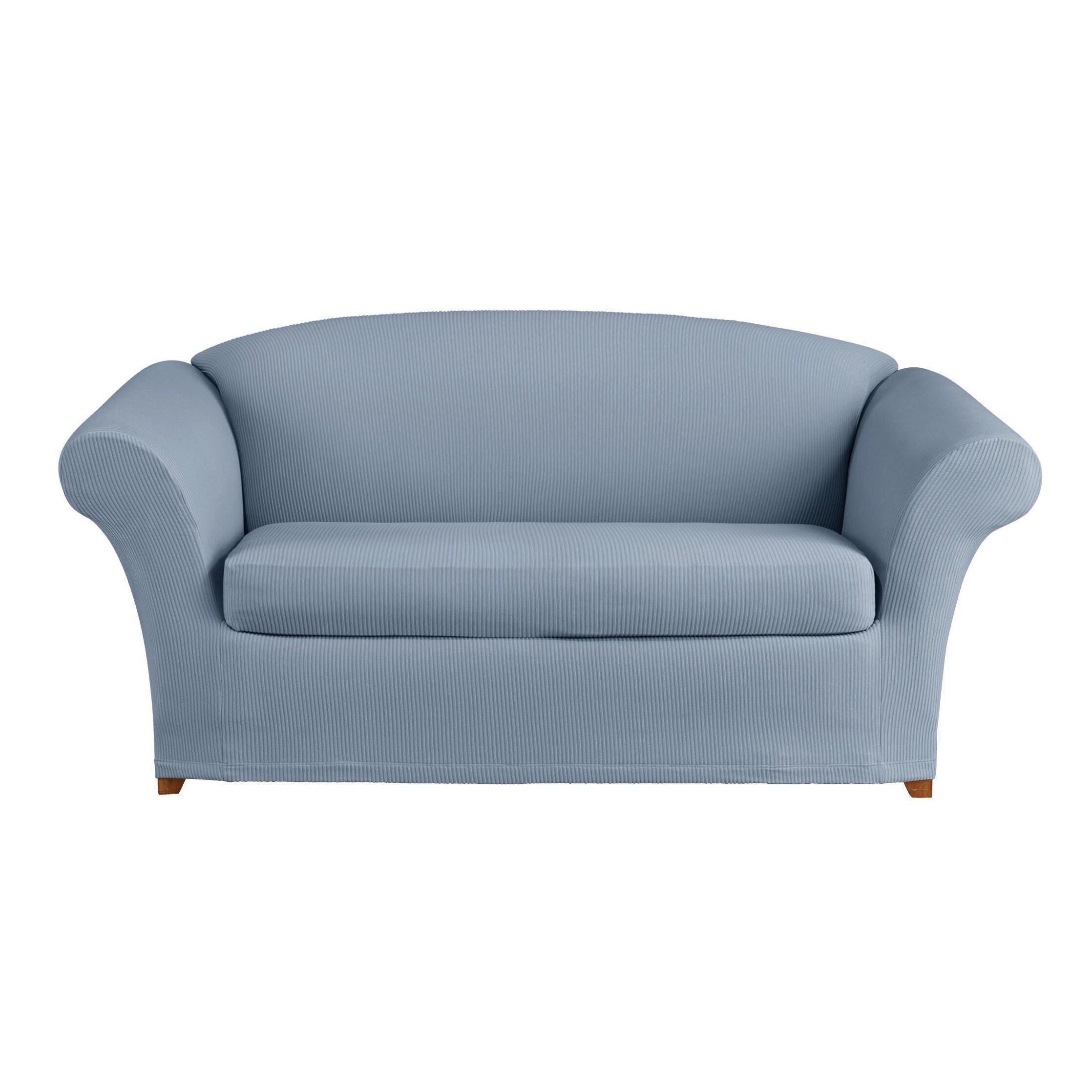 Sure fit stretch seersucker loveseat t cushion seperate seat slipcover reviews wayfair Loveseat t cushion slipcovers