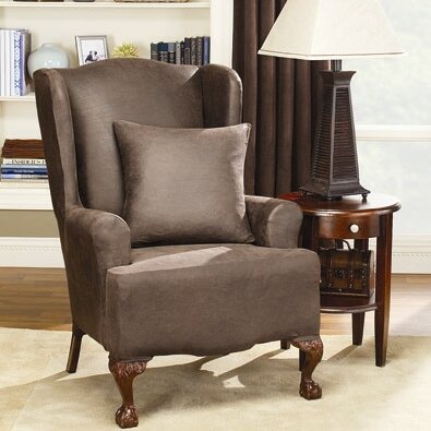 Sure Fit Stretch Leather Wing Chair Slipcover Amp Reviews