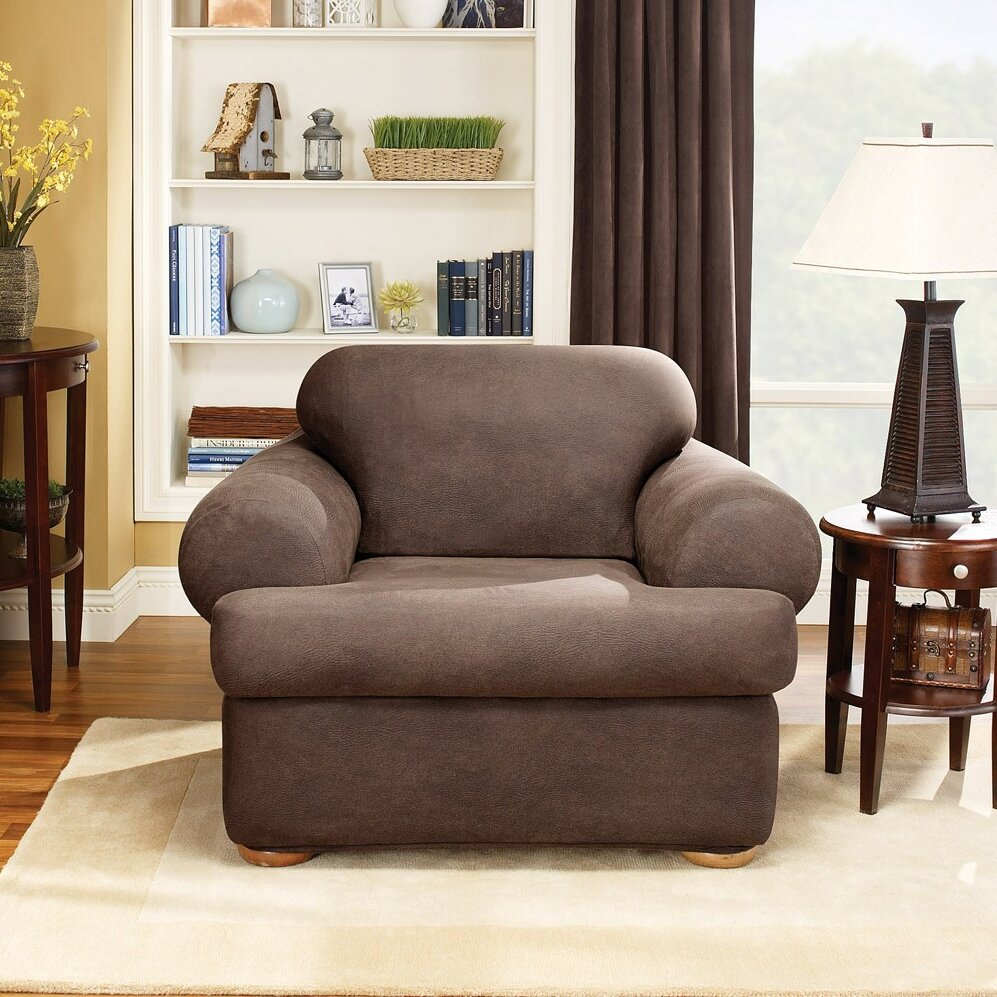 Sure Fit Stretch Leather Chair T Cushion Slipcover  : Stretch Leather Two Piece Chair Slipcover in Brown T Cushion 171327270T from www.wayfair.com size 997 x 997 jpeg 271kB