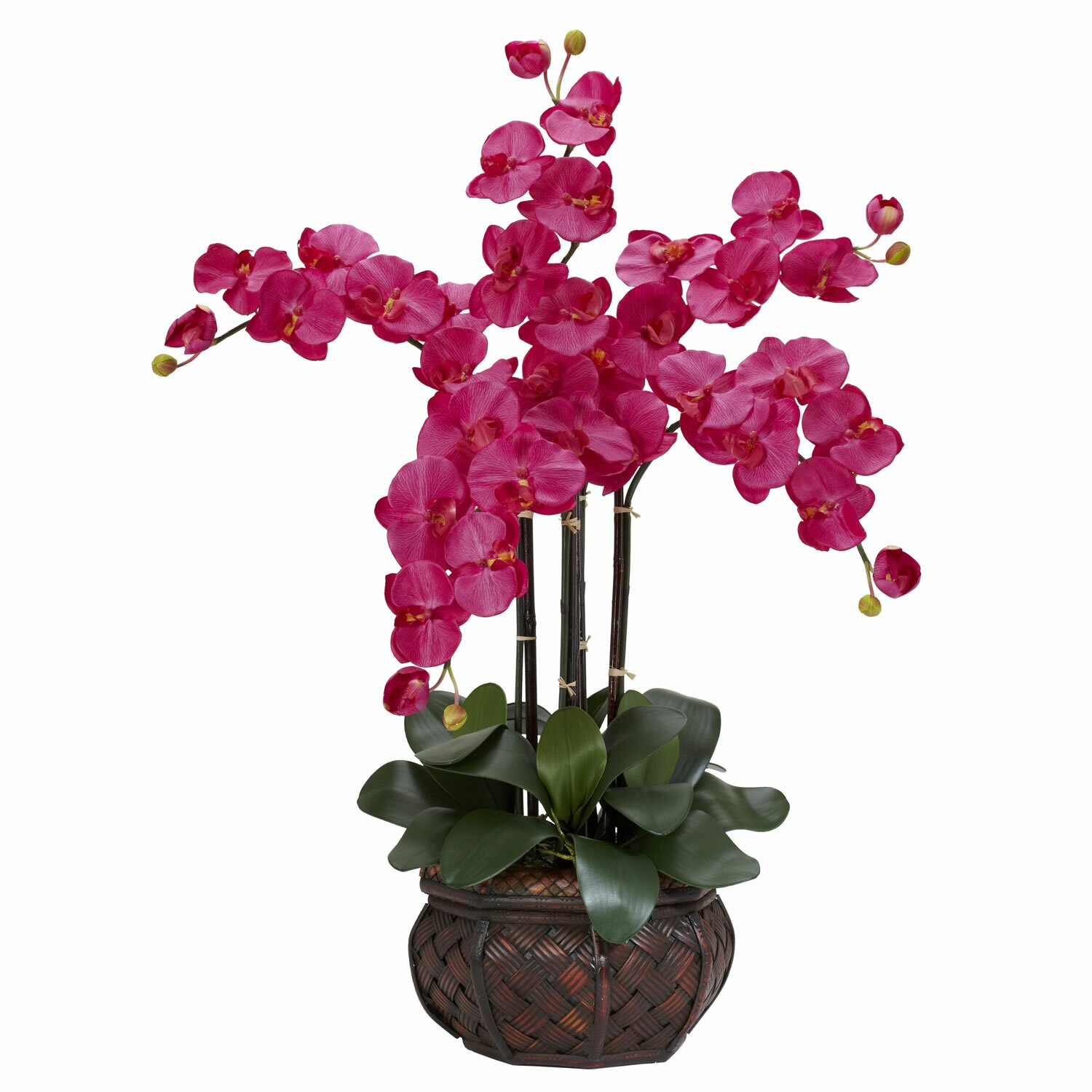 Nearly Natural Phalaenopsis with Decorative Vase Silk Flower Arrangement in Beauty & Reviews