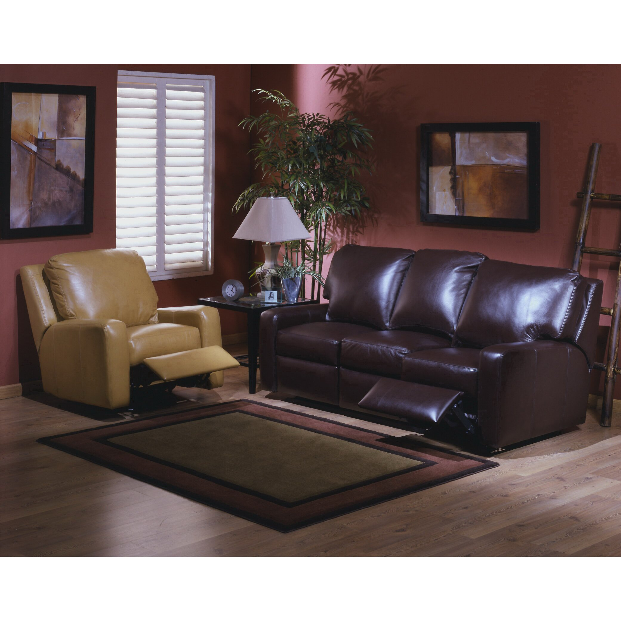 Omnia leather mirage reclining leather living room set for Leather living room sets